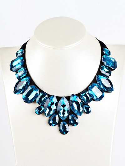 Geometry Faux Crystal Necklace - BLUE  Mobile