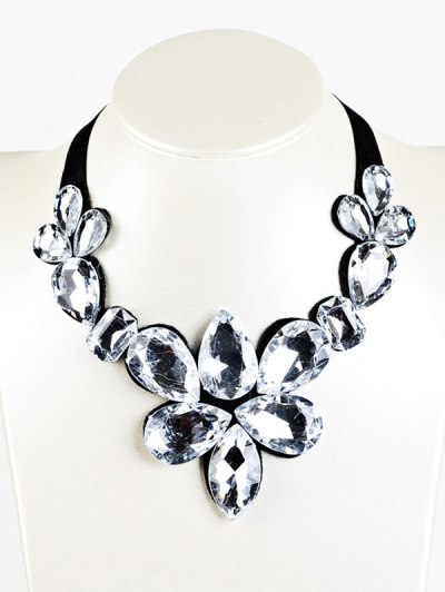 Water Drop Faux Crystal Ribbon Necklace - WHITE  Mobile