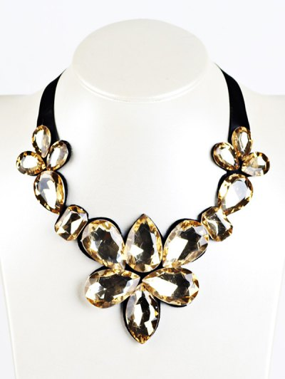 Water Drop Faux Crystal Ribbon Necklace - YELLOW  Mobile