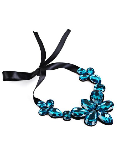 Water Drop Faux Crystal Ribbon Necklace - BLUE  Mobile