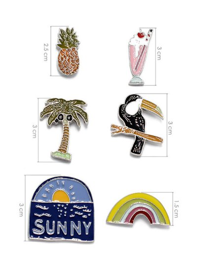Palm Tree Sunny Rainbow Brooch Set - BLUE  Mobile