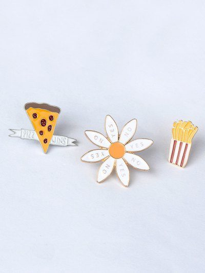 Floral Letter Cheese Cactus Brooch Set - GOLDEN  Mobile