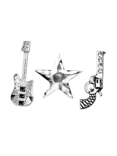 Rhinestone Guitar Gun Star Brooch Set - SILVER  Mobile