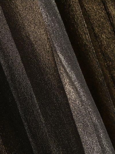 Pleated Metal Colour Tea Length Skirt - GOLDEN L Mobile