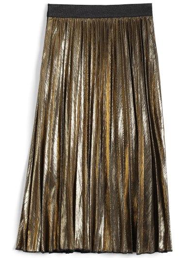Metallic Color Pleated Tea Length Skirt - GOLDEN L Mobile