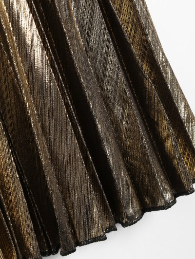 Metallic Color Pleated Tea Length Skirt - GOLDEN M Mobile