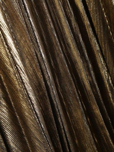 Metallic Color Pleated Tea Length Skirt - GOLDEN S Mobile