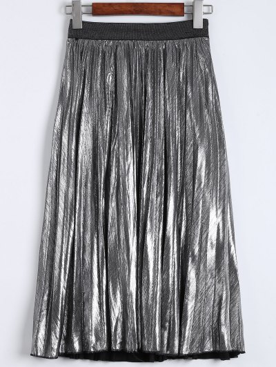 Metallic Color Pleated Tea Length Skirt - SILVER L Mobile