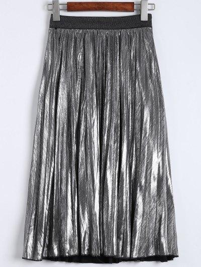 Metallic Color Pleated Tea Length Skirt - SILVER M Mobile