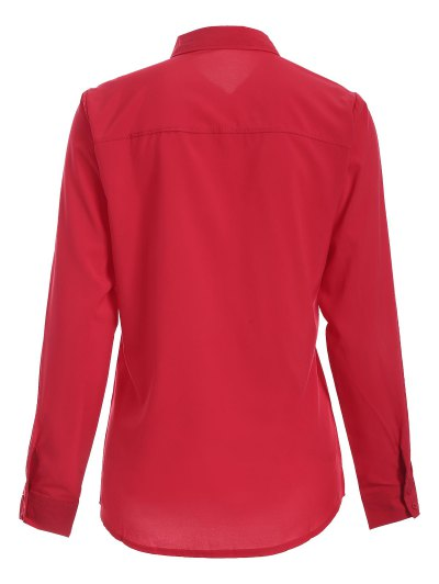 Bowknot Long Sleeve Button Up Shirt - RED M Mobile