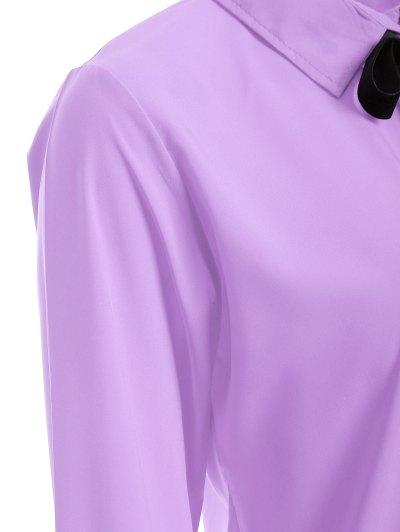 Bowknot Long Sleeve Button Up Shirt - LIGHT PURPLE M Mobile