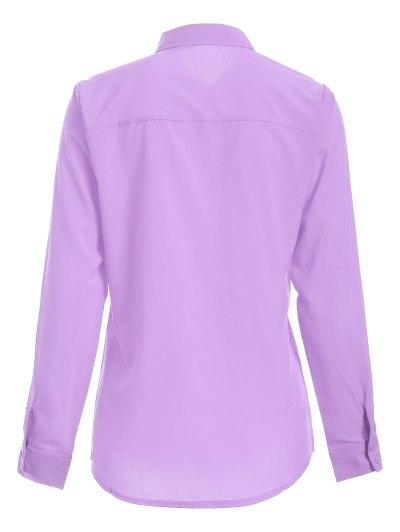 Bowknot Long Sleeve Button Up Shirt - LIGHT PURPLE S Mobile
