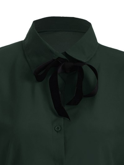 Bowknot Long Sleeve Button Up Shirt - BLACKISH GREEN M Mobile