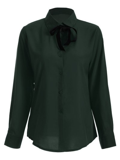 Bowknot Long Sleeve Button Up Shirt - BLACKISH GREEN S Mobile