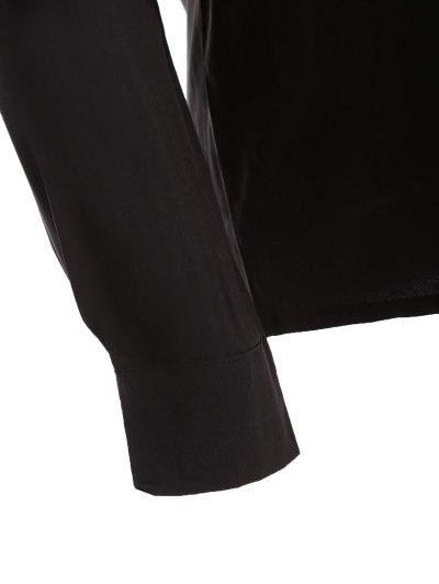 Bowknot Long Sleeve Button Up Shirt - BLACK L Mobile