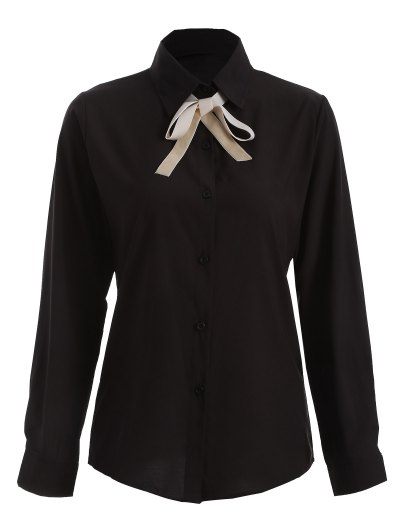 Bowknot Long Sleeve Button Up Shirt - BLACK M Mobile