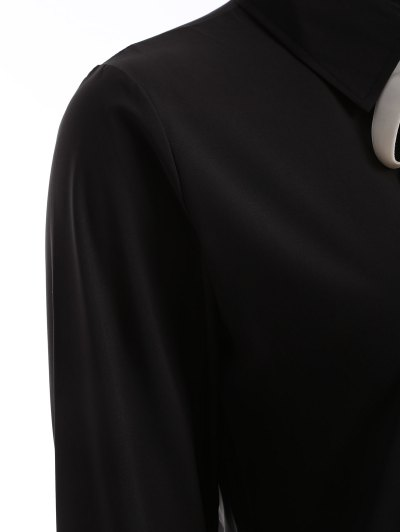 Bowknot Long Sleeve Button Up Shirt - BLACK S Mobile