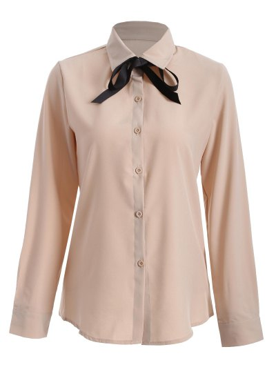 Bowknot Long Sleeve Button Up Shirt - APRICOT L Mobile