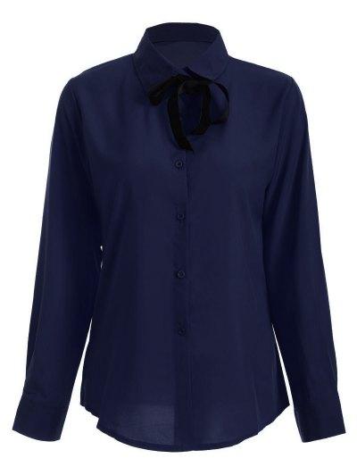 Bowknot Long Sleeve Button Up Shirt - DEEP BLUE L Mobile