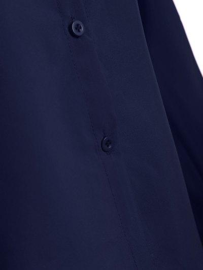 Bowknot Long Sleeve Button Up Shirt - DEEP BLUE S Mobile