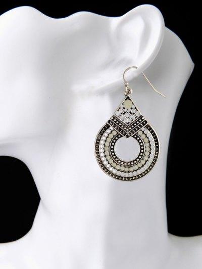 Rhinestoned Teardrop Earrings - SILVER  Mobile