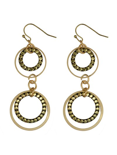 Rhinestone Circles Earrings - GOLDEN  Mobile
