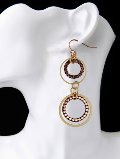 Rhinestone Circles Earrings - BROWN  Mobile