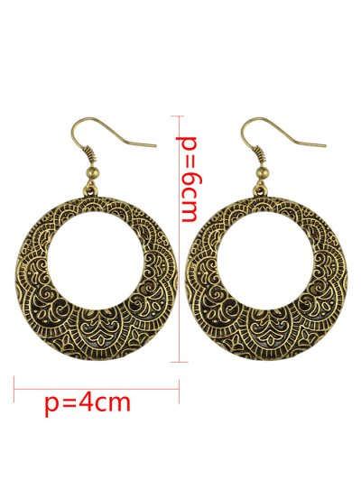 Etched Floral Circle Earrings - COPPER COLOR  Mobile