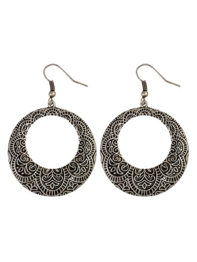 Etched Floral Circle Earrings - SILVER  Mobile