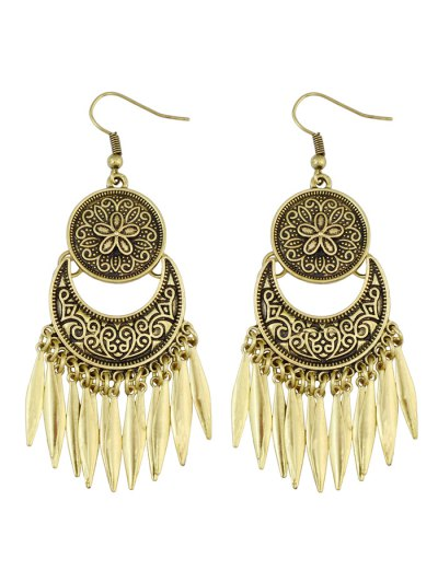 Moon Etched Flower Earrings - BRONZED  Mobile