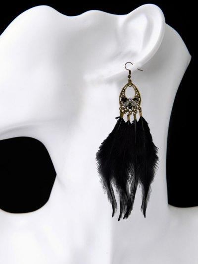 Bohemian Rhinestone Feather Teardrop Earrings - BLACK  Mobile