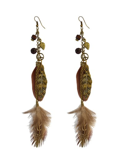 Peace Tree Leaf Feather Earrings - BRONZED  Mobile