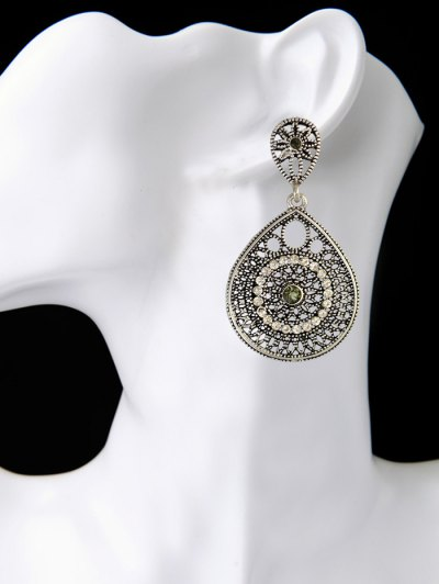 Vintage Teardrop Rhinestone Earrings - SILVER  Mobile