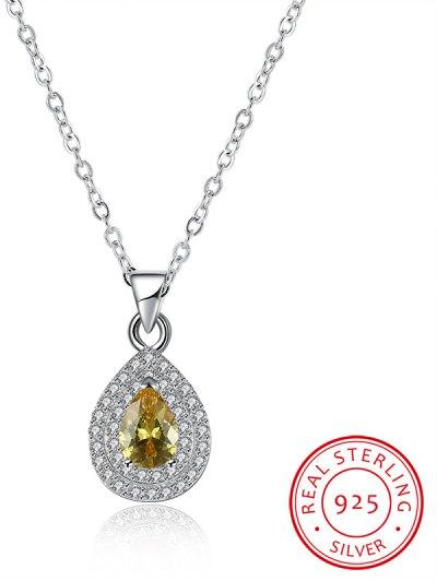 Embellished Teardrop S925 Diamond Necklace - SILVER  Mobile