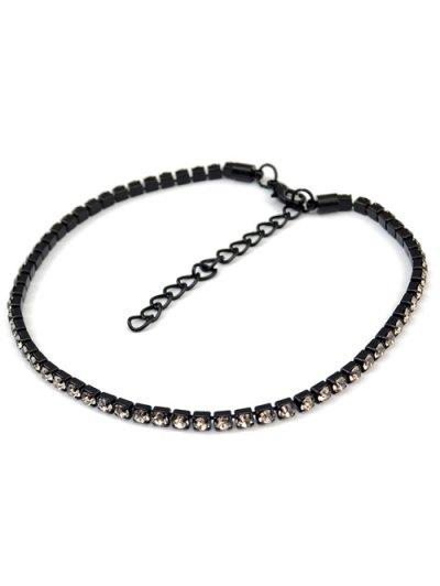 Rhinestoned Velvet Choker Necklace Set - BROWN  Mobile
