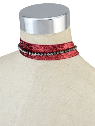 Rhinestoned Velvet Choker Necklace Set - RED  Mobile