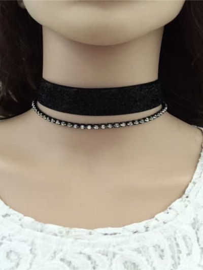 Rhinestoned Velvet Choker Necklace Set - BLACK  Mobile