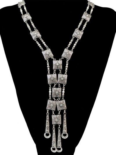 Rhinestone Geometric Necklace - SILVER  Mobile