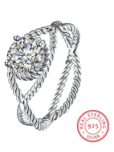S925 Diamond Circle Ring - SILVER 8 Mobile
