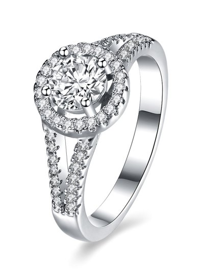 S925 Diamond Round Ring - SILVER 8 Mobile