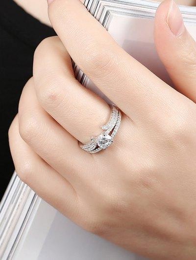 S925 Diamond Round Ring Set - SILVER 8 Mobile