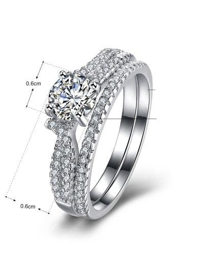 S925 Diamond Round Ring Set - SILVER 6 Mobile