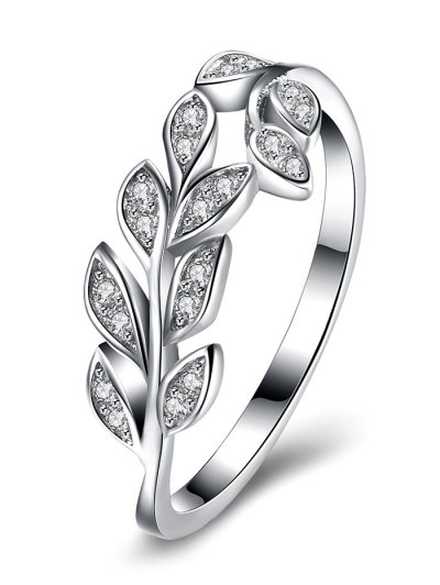 Leaf S925 Diamond Ring - SILVER 8 Mobile