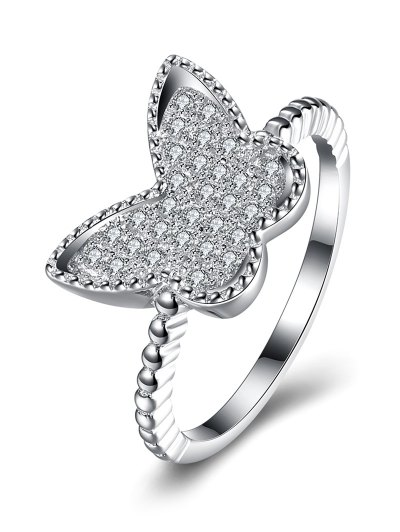 Butterfly S925 Diamond Ring - SILVER 8 Mobile