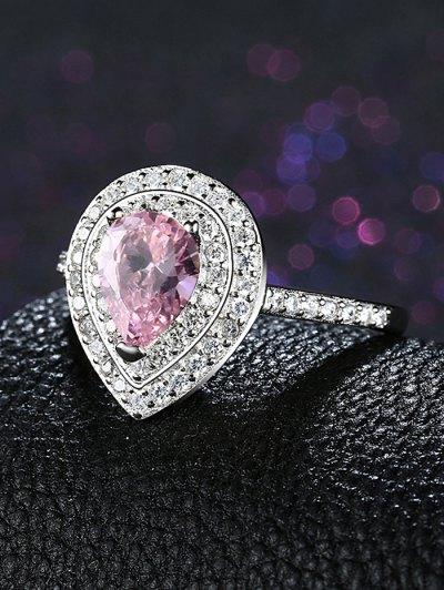 Teardrop S925 Fake Diamond Ring - PINK 8 Mobile