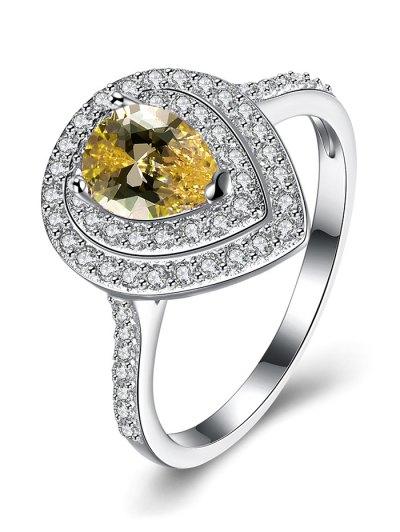 Teardrop Shape S925 Diamond Ring - YELLOW 8 Mobile