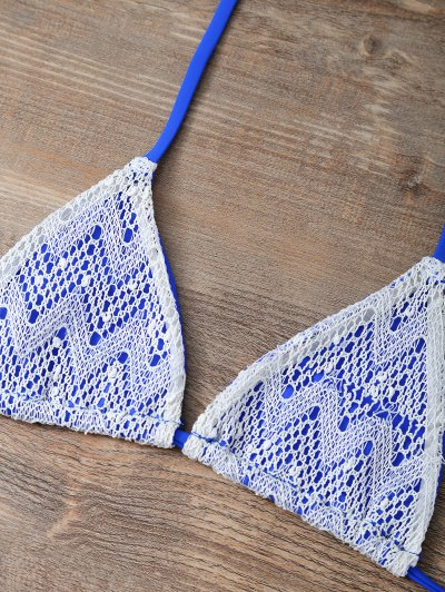 Halter String Tassels Bikini Set - BLUE L Mobile