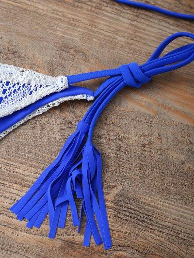 Halter String Tassels Bikini Set - BLUE S Mobile