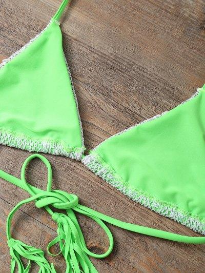Halter String Tassels Bikini Set - GREEN L Mobile