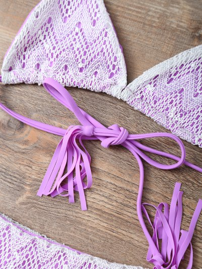 Halter String Tassels Bikini Set - PURPLE L Mobile
